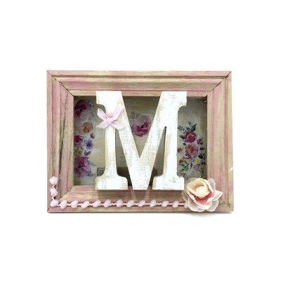 Κάδρο personalised με φωτάκια led Μονόγραμμα ροζ