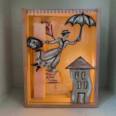 Λαμπάδα Mary Poppins σετ με φωτιζόμενο κάδρο